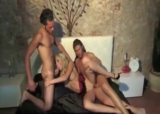 Brothers are penetrating a slutty golden blonde
