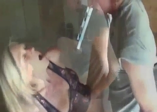 Blonde sister is sucking her young brothers dicks