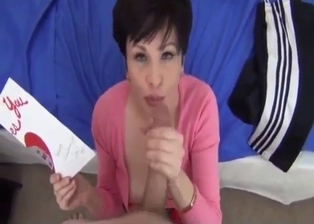 Dark-haired mom knows how to suck me properly