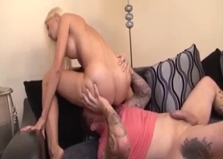 Toned blonde is trying her brother's boner